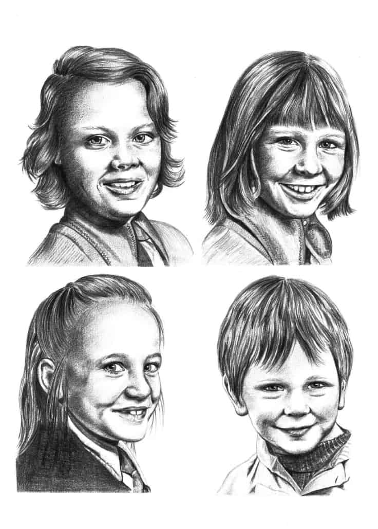 A Family Portrait Drawing of Four Children