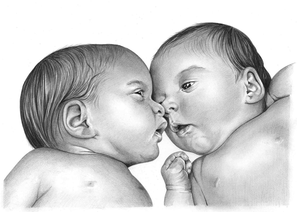 Pencil Portrait of Baby Brothers