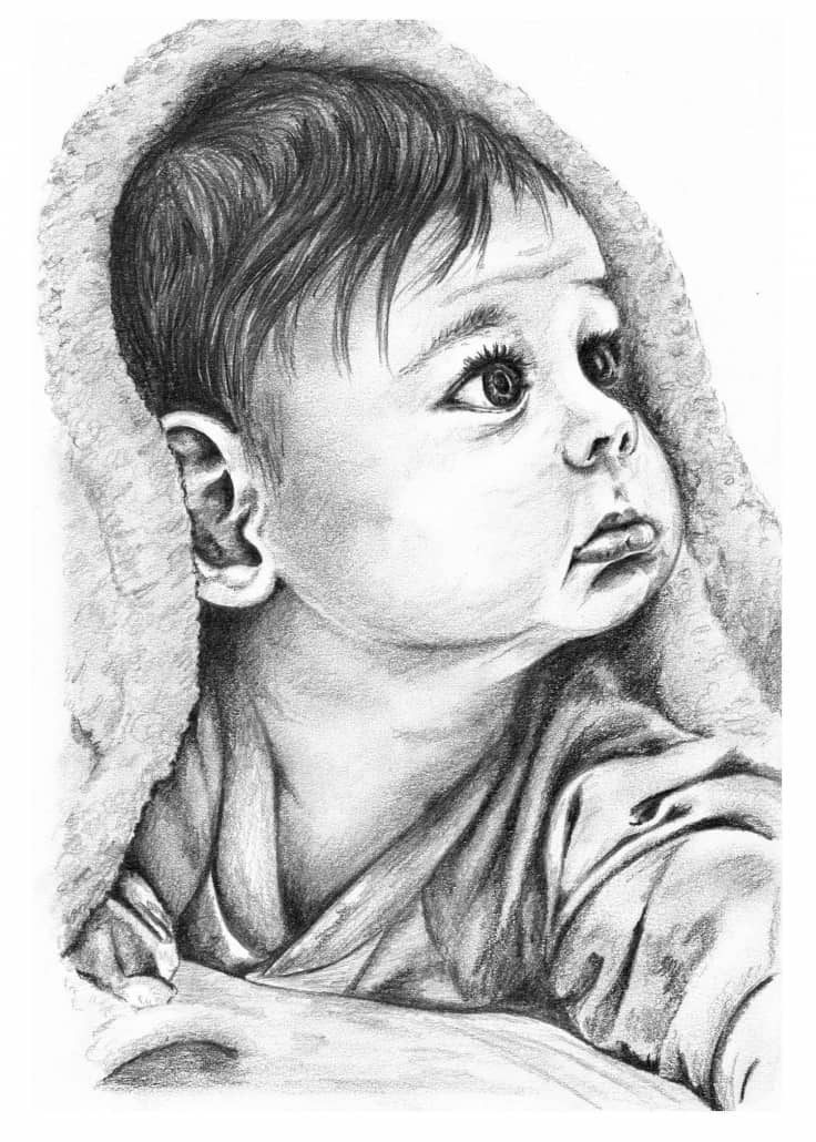 Baby Drawings - Sketches and Pencil Portraits of Babies