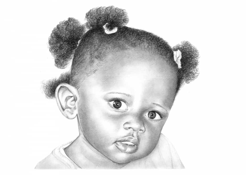 Pencil Portrait of Baby Girl | Pencil Sketch Portraits