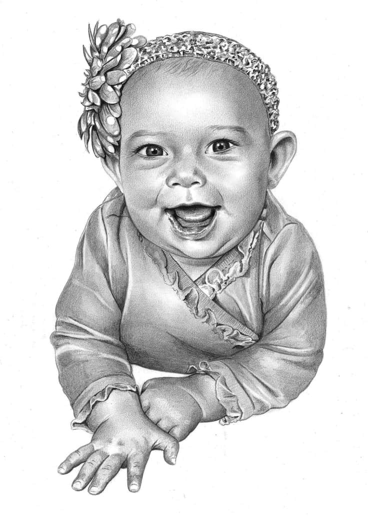 Pencil Sketch of Baby Girl