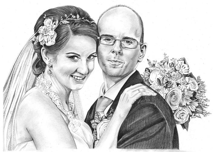 Pencil Sketch of Bride and Groom