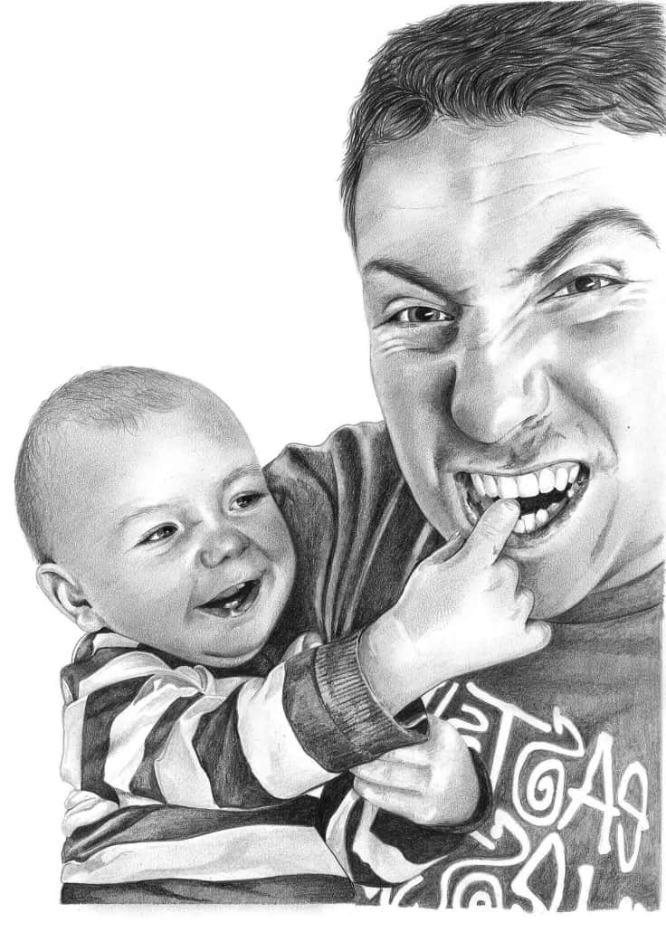 Pencil Portrait of Dad with Baby Son