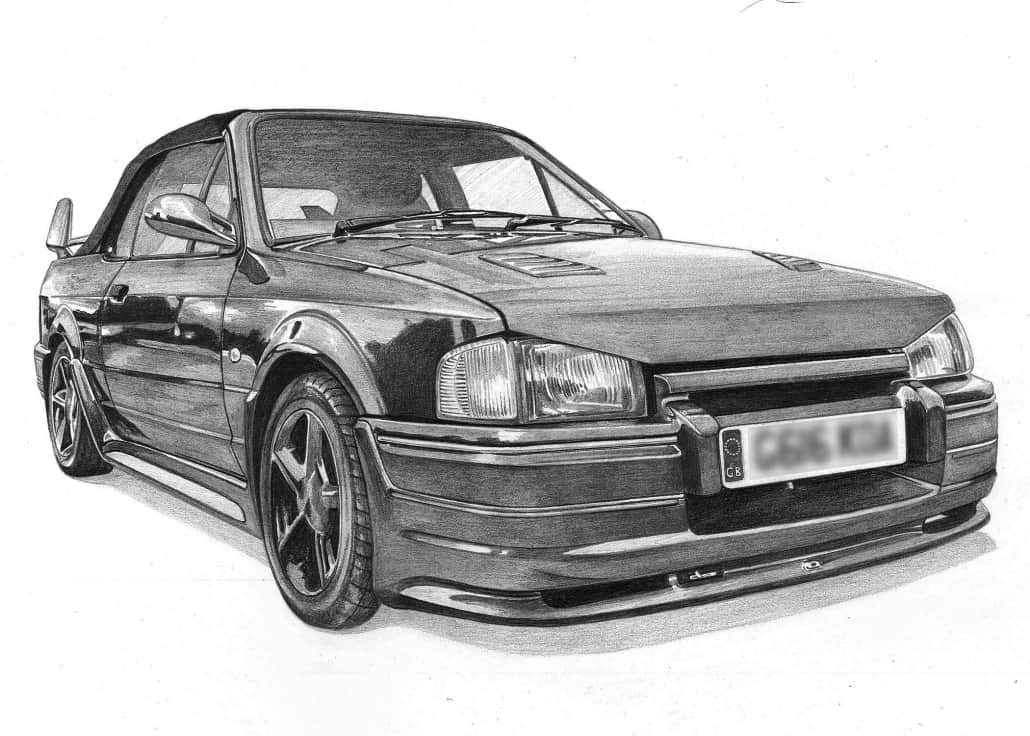 Pencil Drawing of Ford Escort