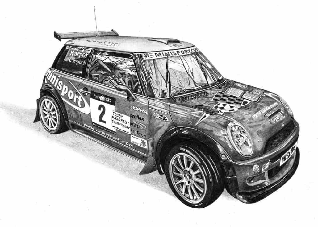 Pencil Drawing of Harper Campbell Minisport Rally Car