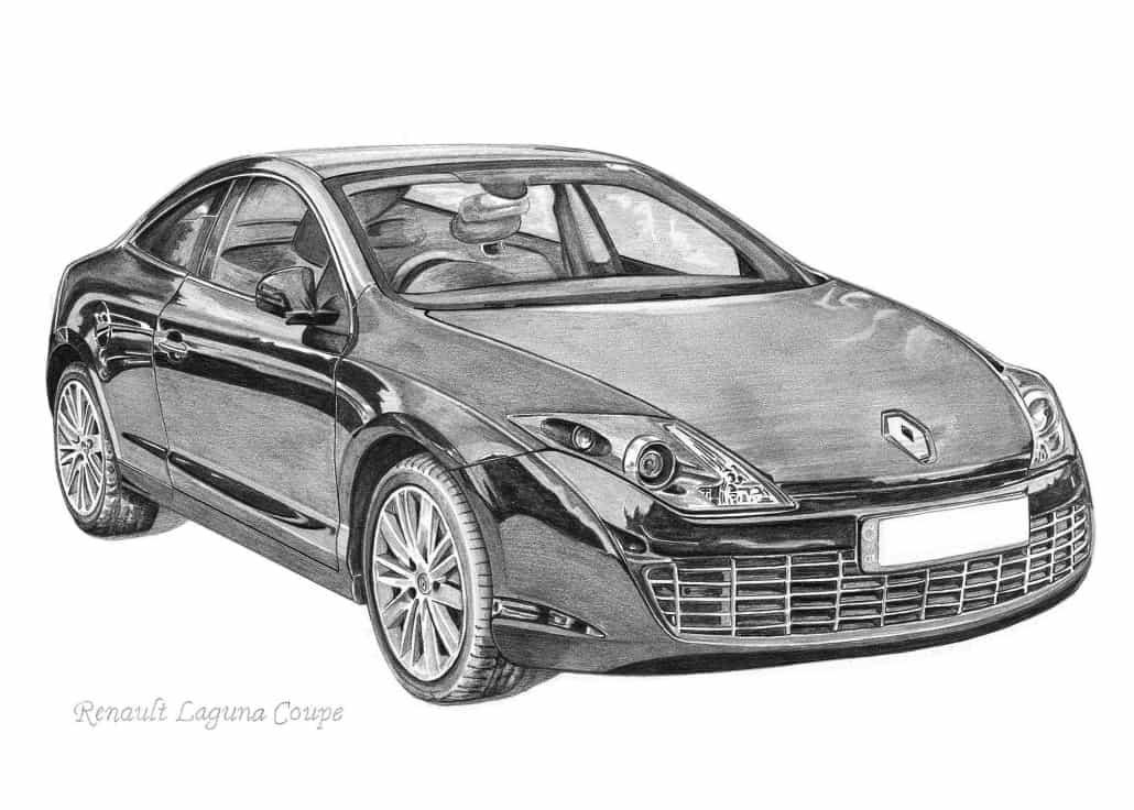 Pencil Drawing of Renault Laguna