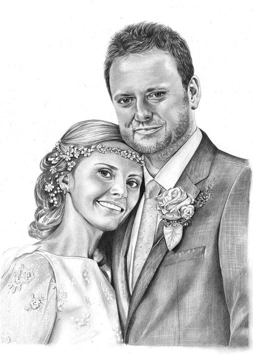 Pencil Portrait of Wedding Couple