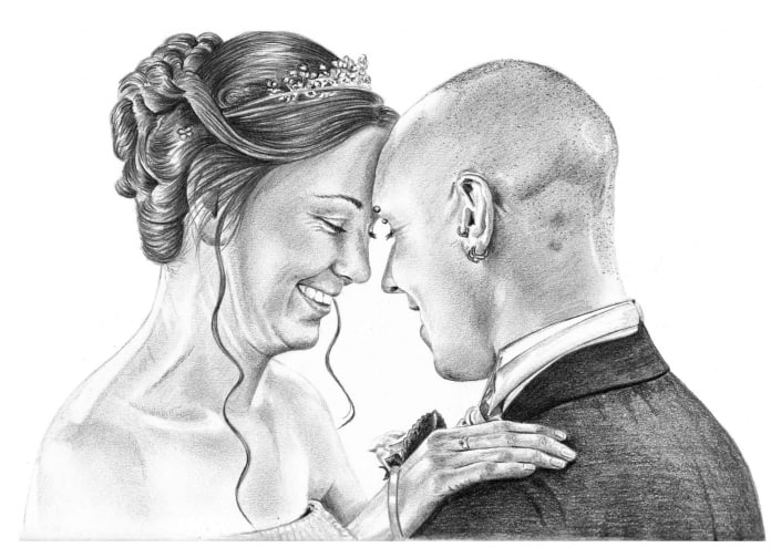 Pencil Drawing of First Wedding Dance