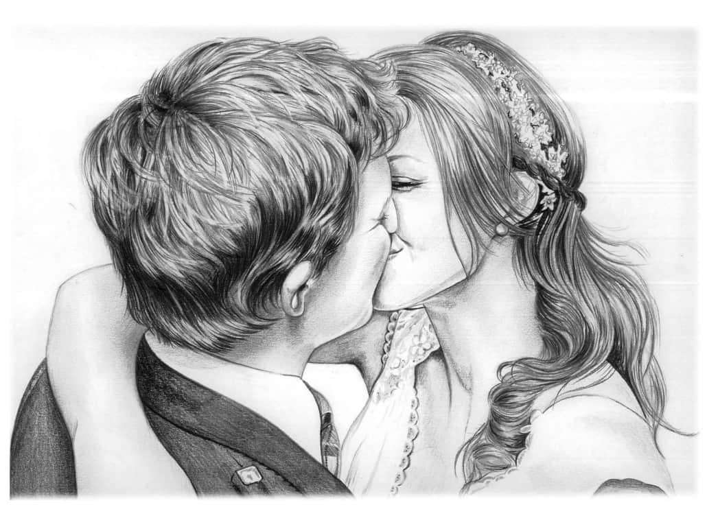 Pencil Portrait of Wedding Kiss