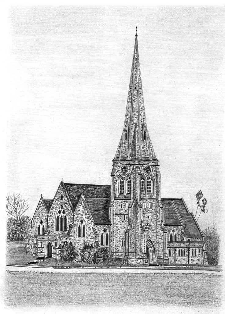 Pencil Drawing of All Saints Church