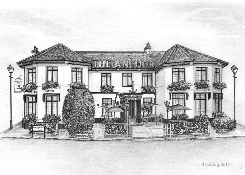 Pencil Drawing of Anchor Pub
