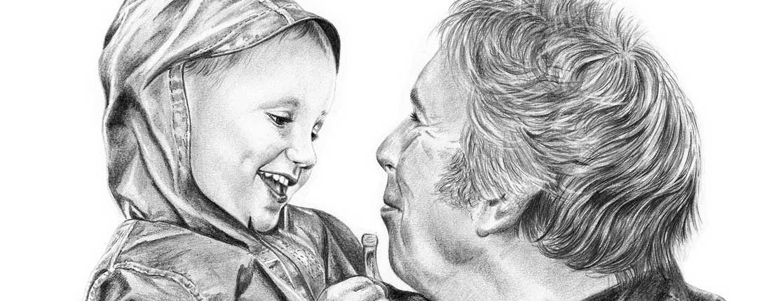 Drawing of Boy with Granddad