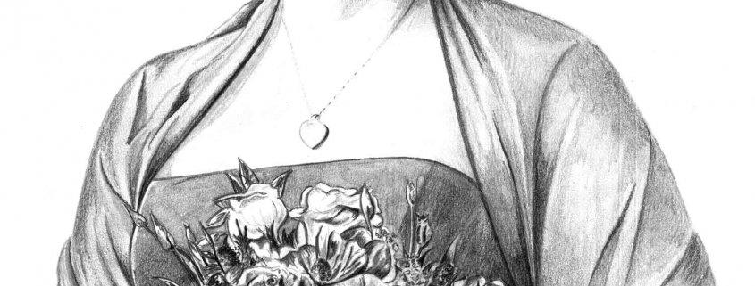Pencil Portrait of Bride