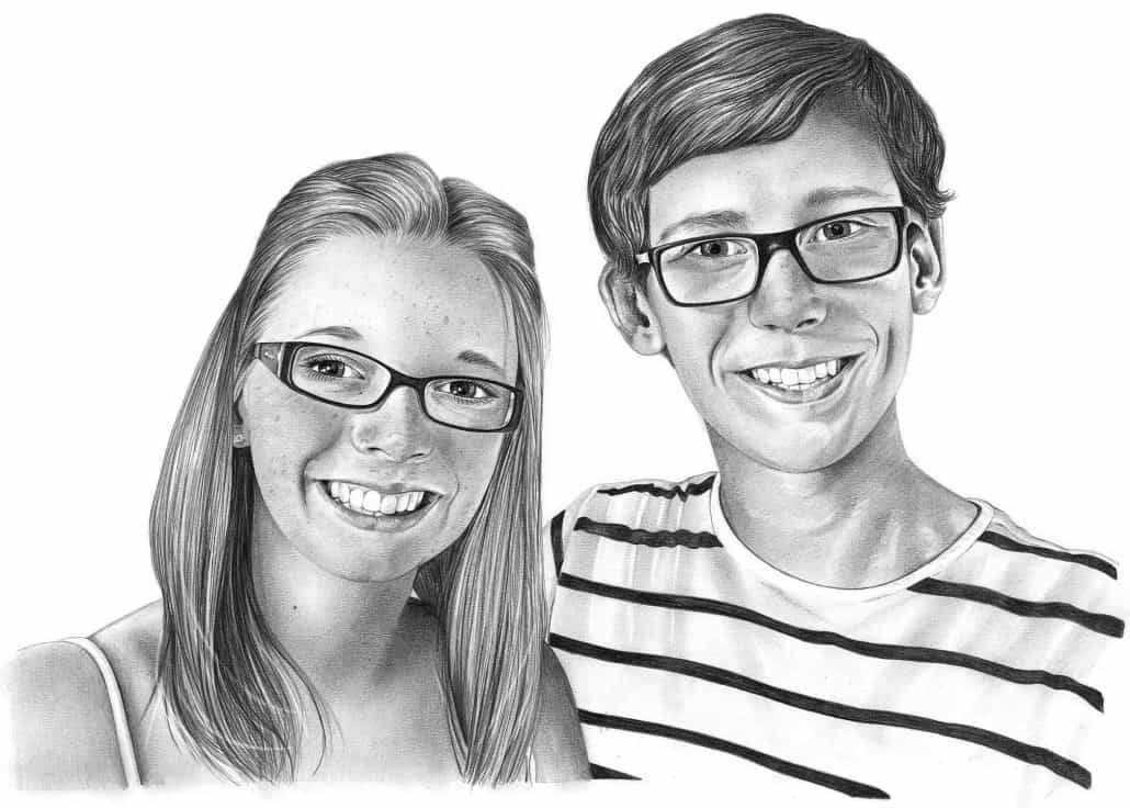 Pencil Sketch of Brother and Sister