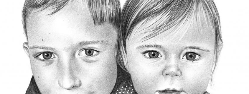Portrait Drawing of Brother and Sister