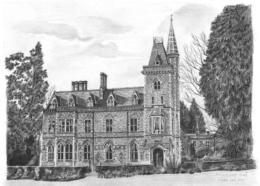 Pencil Drawing of Brownsover Hall