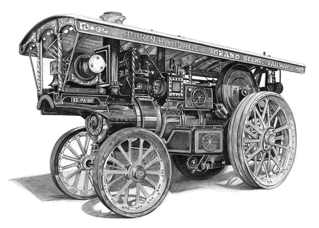 Pencil Drawing of Burrell Showman's Engine
