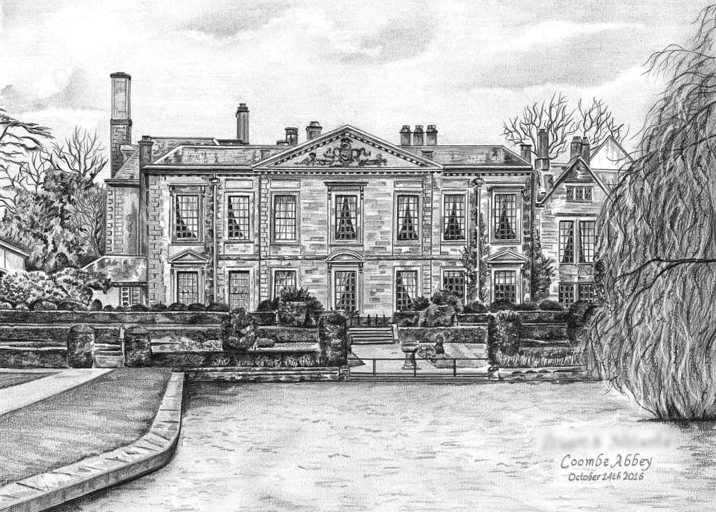 Pencil Drawing of Coombe Abbey