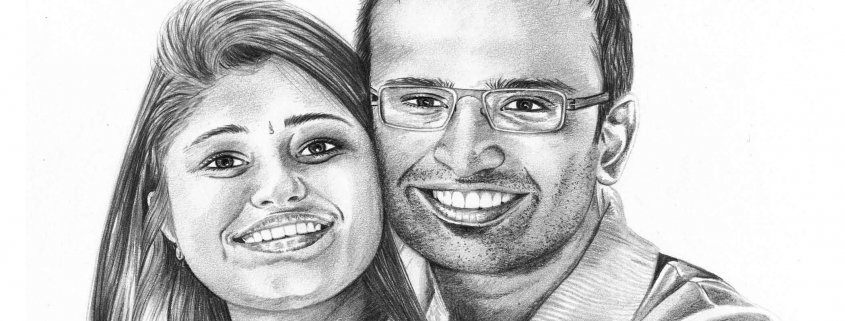 Pencil Drawing of Couple