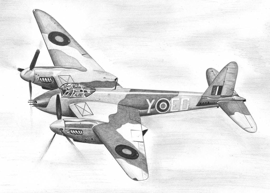 Pencil Drawing of de Havilland Mosquito