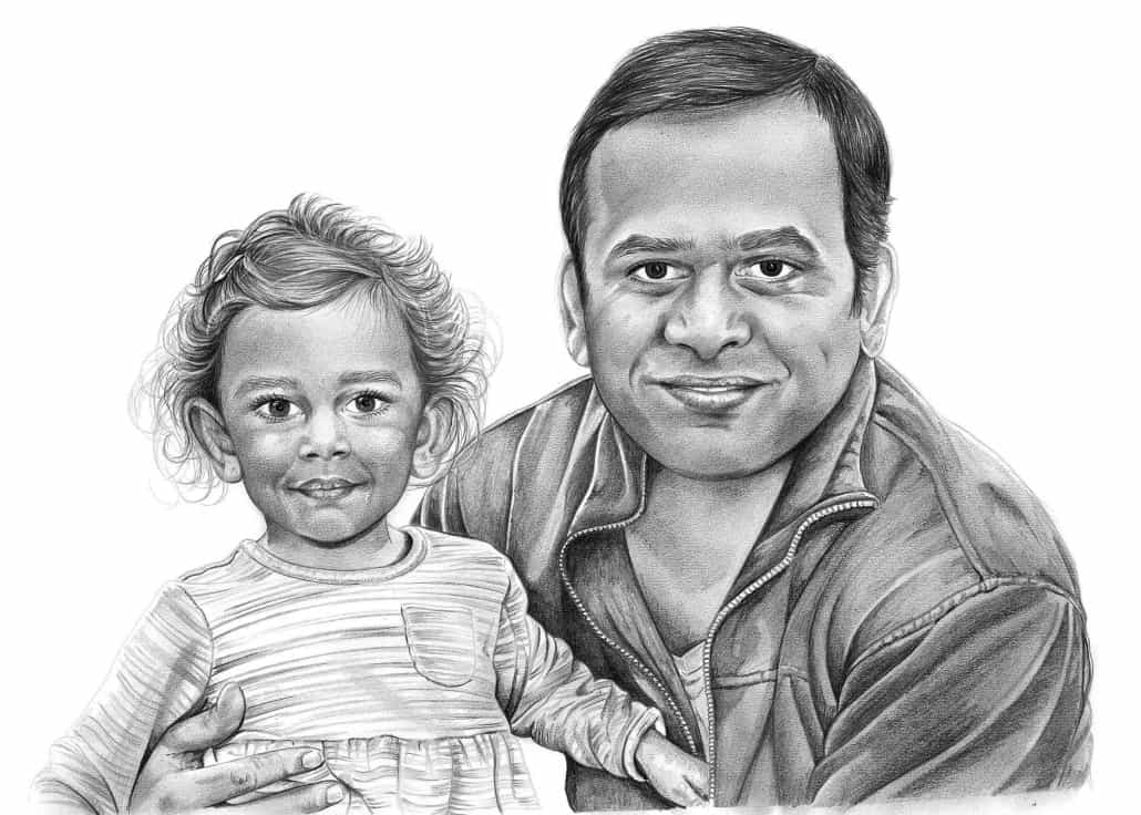 Family Portrait Drawings by Angela - Pencil Sketch Portraits