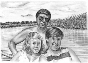 Pencil Drawing of Dad with Daughters