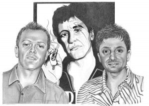 Pencil Portrait of Two Friends and Al Pacino