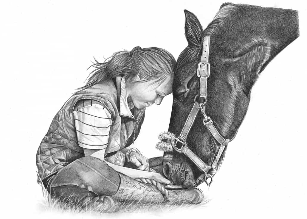 Pencil Drawing of Girl with Horse