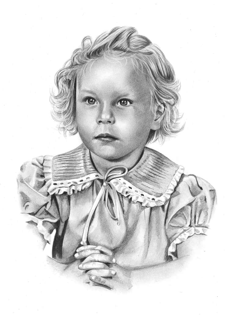 Traditional Portrait Drawing of Girl