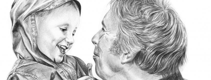 Pencil Portrait of Granddad and Grandson