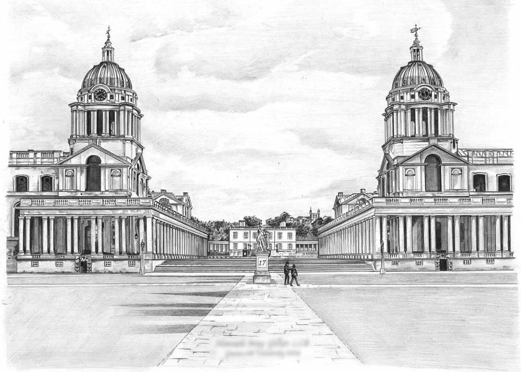 Pencil Drawing of Greenwich University