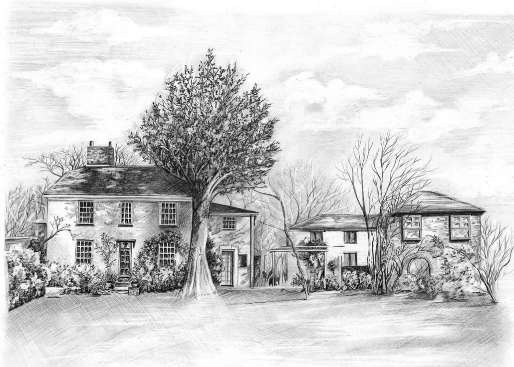 Pencil Drawing of Hayne Barton Cottage