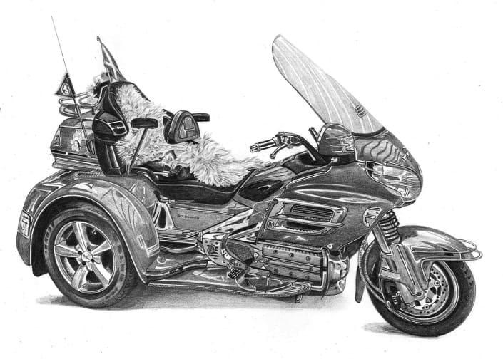 Pencil Drawing of Honda Goldwing