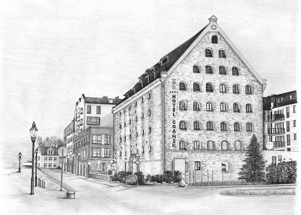 Pencil Drawing of Hotel Gdansk
