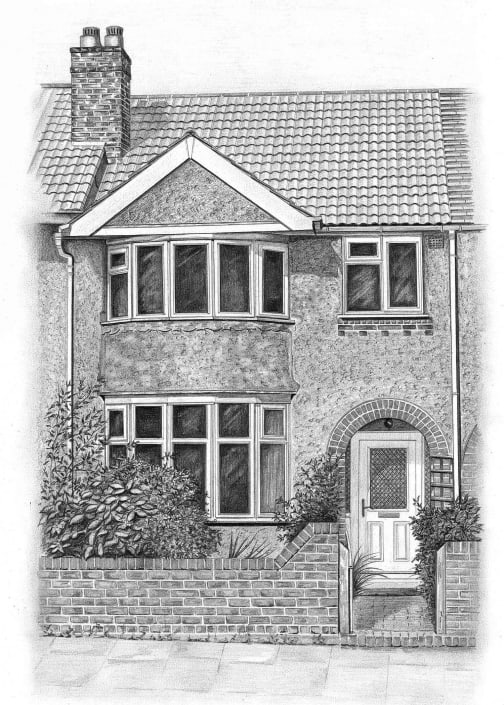 Pencil Sketch of House