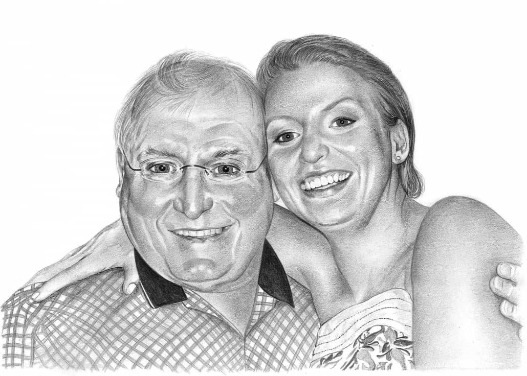 Pencil Portrait of Husband and Wife