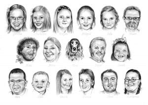 Family Pencil Portrait of Seventeen