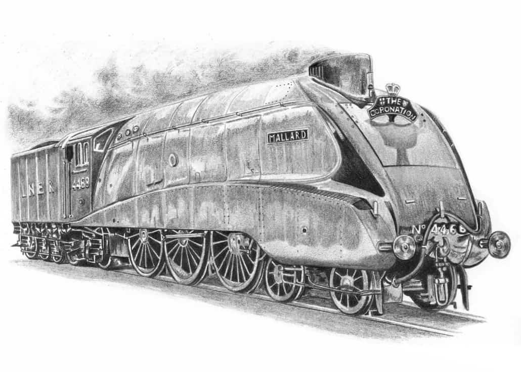 The Mallard Steam Train - Steam Engine Drawings for Sale ...