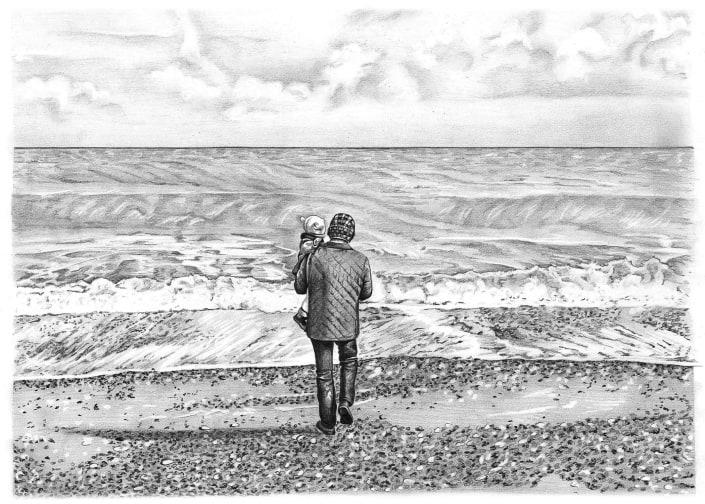Pencil Drawing of Man and Baby at Beach