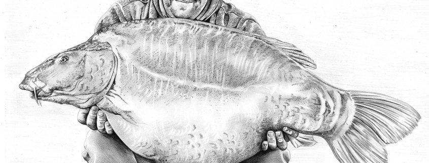 Pencil Drawing of Man with Mirror Carp