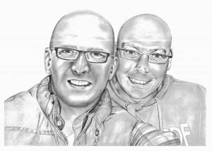 Pencil Portrait of Male Friends