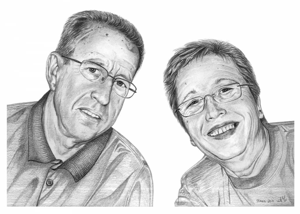 Pencil Portrait of Retired Couple