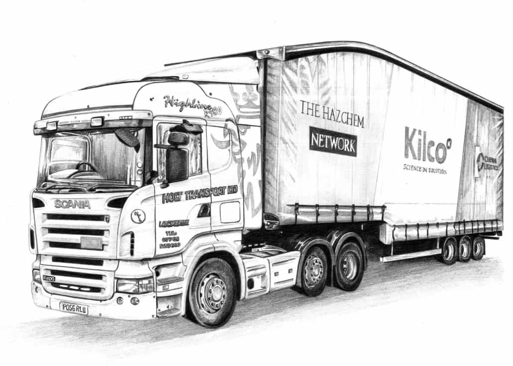 Pencil Drawing of Scania Articulated Lorry