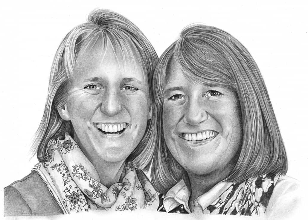 Pencil Portrait of Sisters