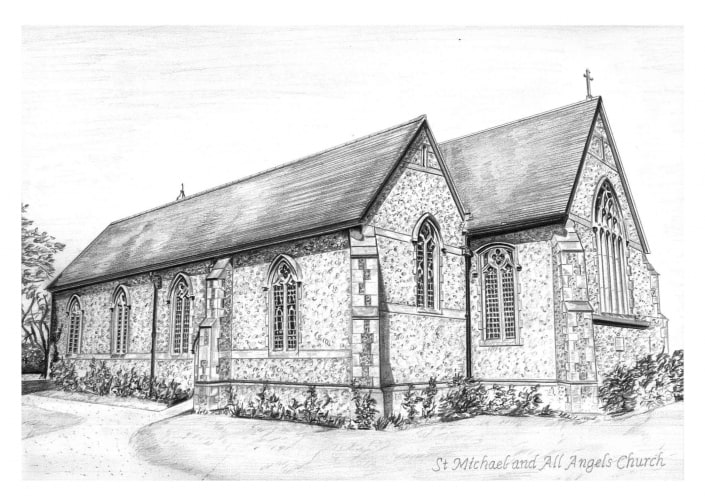 Pencil Drawing of St Michael All Angels Church