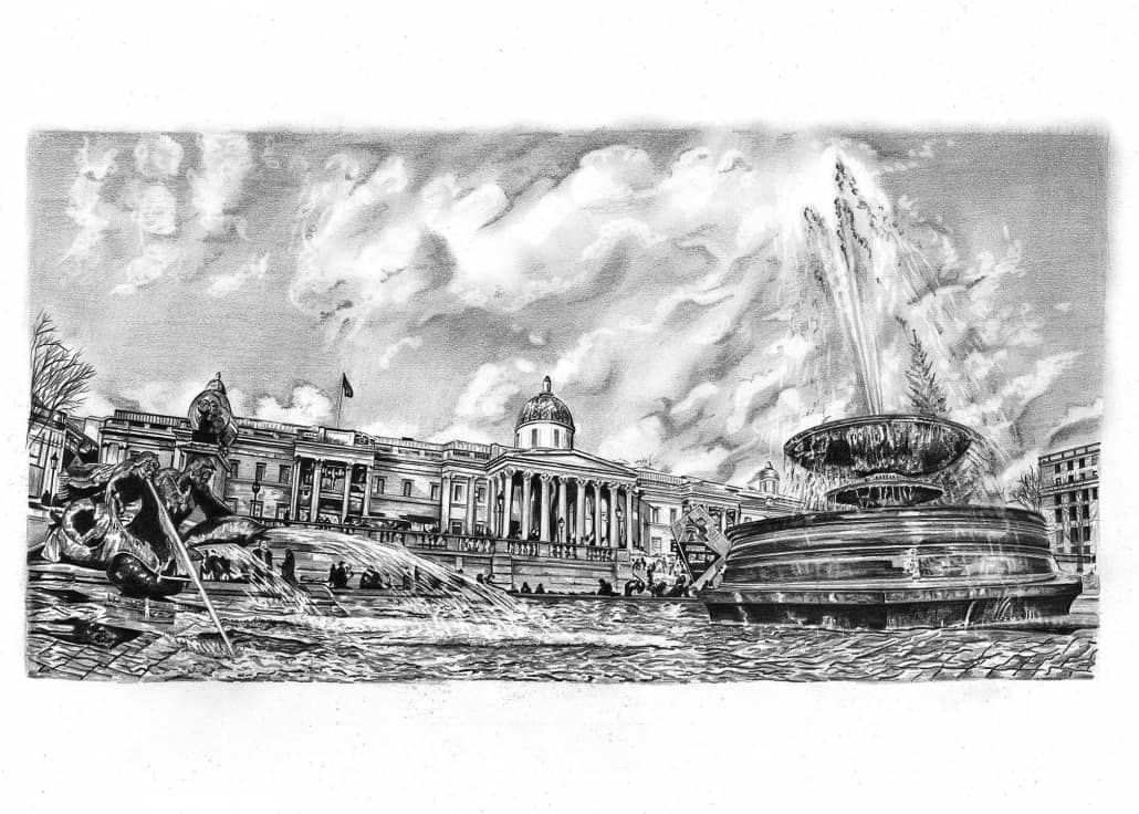 Pencil Drawing of Trafalgar Square in London