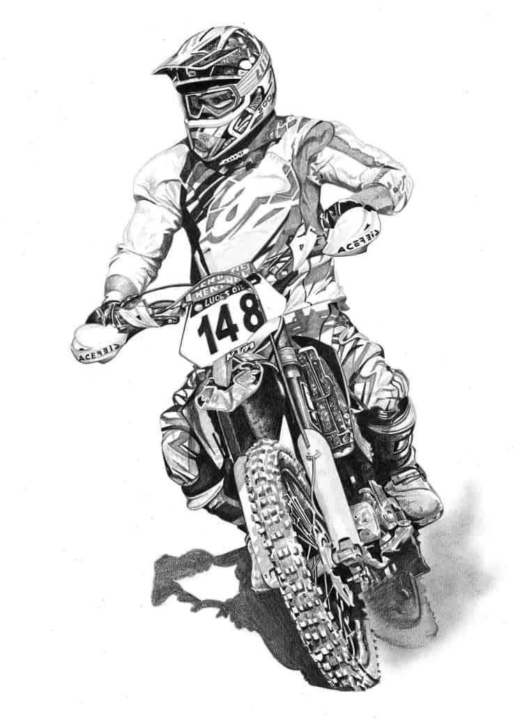 Pencil Drawing of Dirt Bike