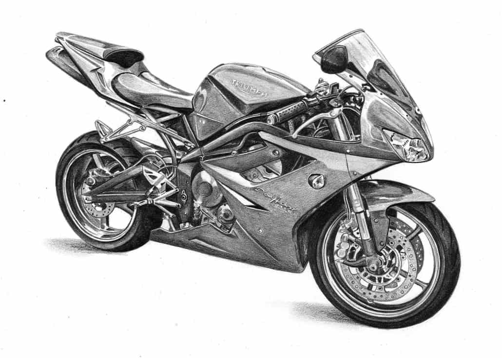 Pencil Drawing of Triumph Daytona