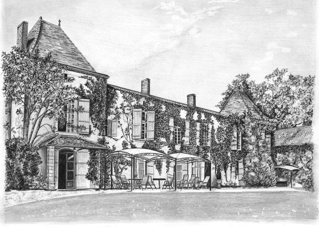 Pencil Sketch of French Chateau