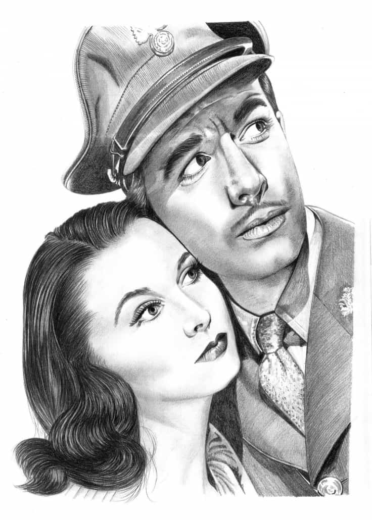 Pencil Portrait of Vivian Lee and Robert Taylor